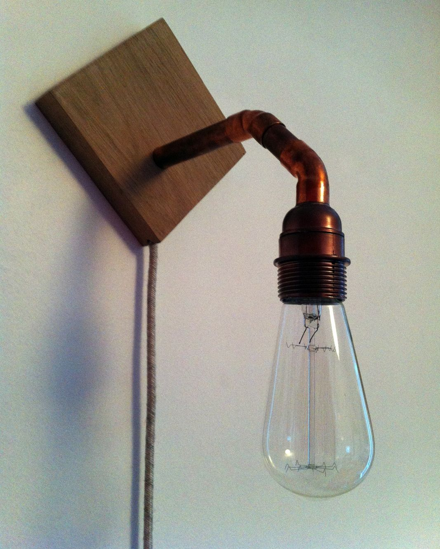 Applique chêne et cuivre - jour de pluie - fil électrique beige ...
