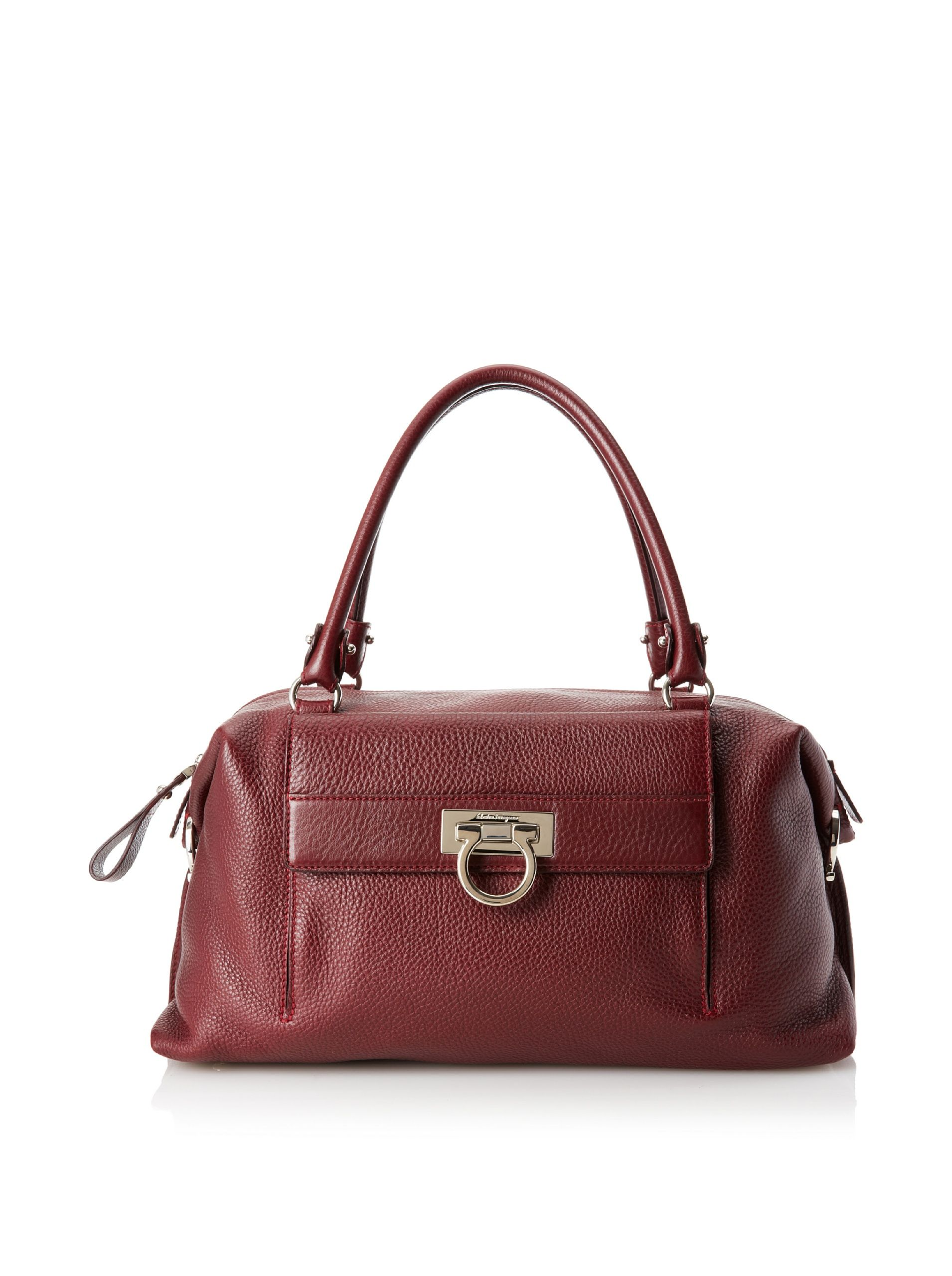 Salvatore Ferragamo Women S Noah Handbag Bordeaux Luxe Pebbled Leather Satchel With Polished Silver Tone Hardware Back Zip And Front Flap Pockets