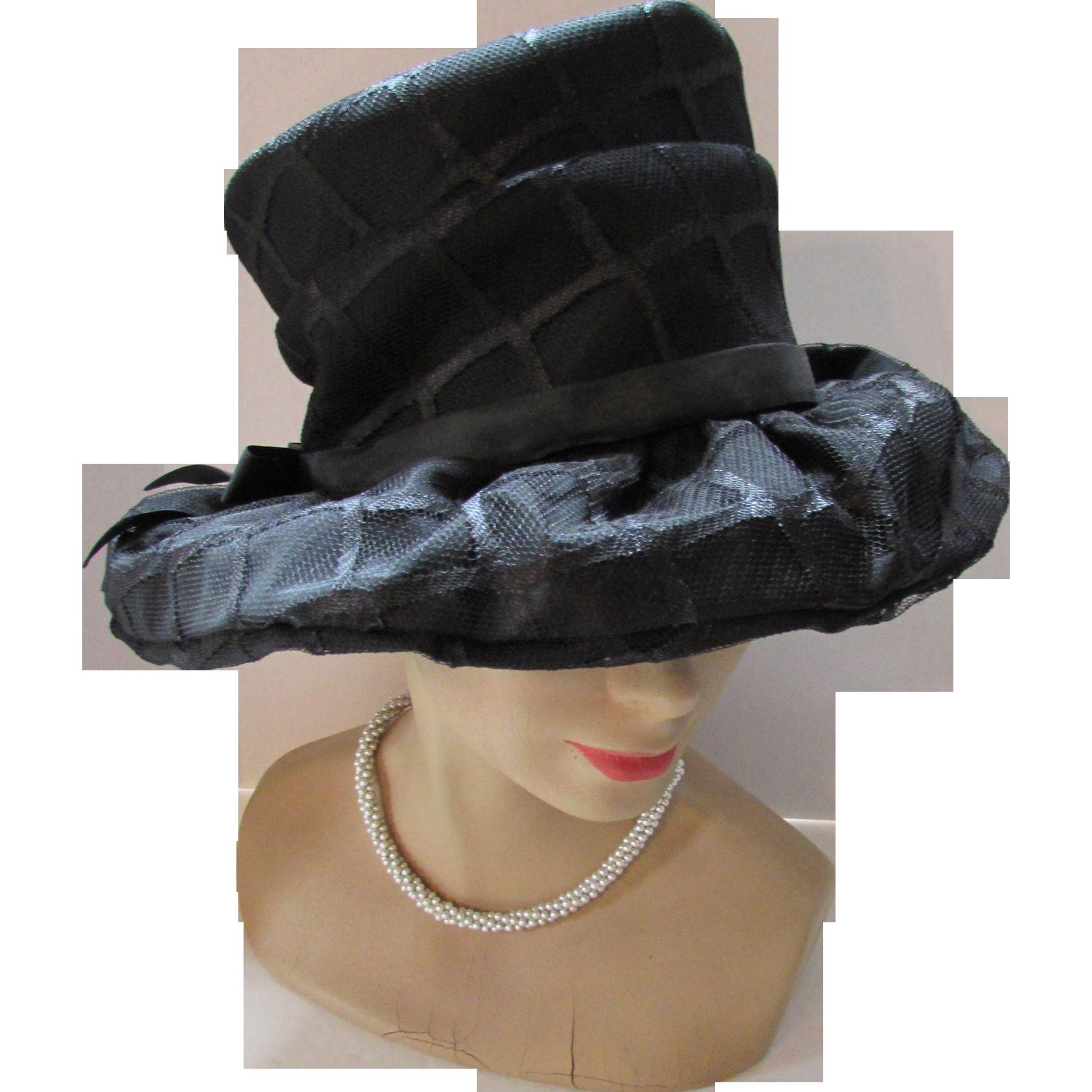 Black Fabric Hat  60 s Style in High Crown Wide Brim Mr. John Classic bc072b6fa517