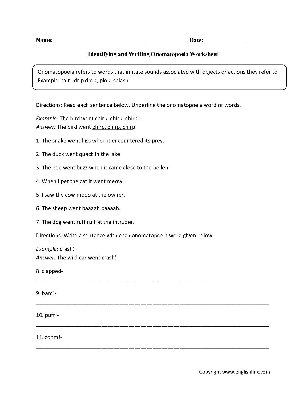 Identifying And Writing Onomatopoeia Worksheet Onomatopoeia Figurative Language Worksheet Worksheets [ 1662 x 1275 Pixel ]