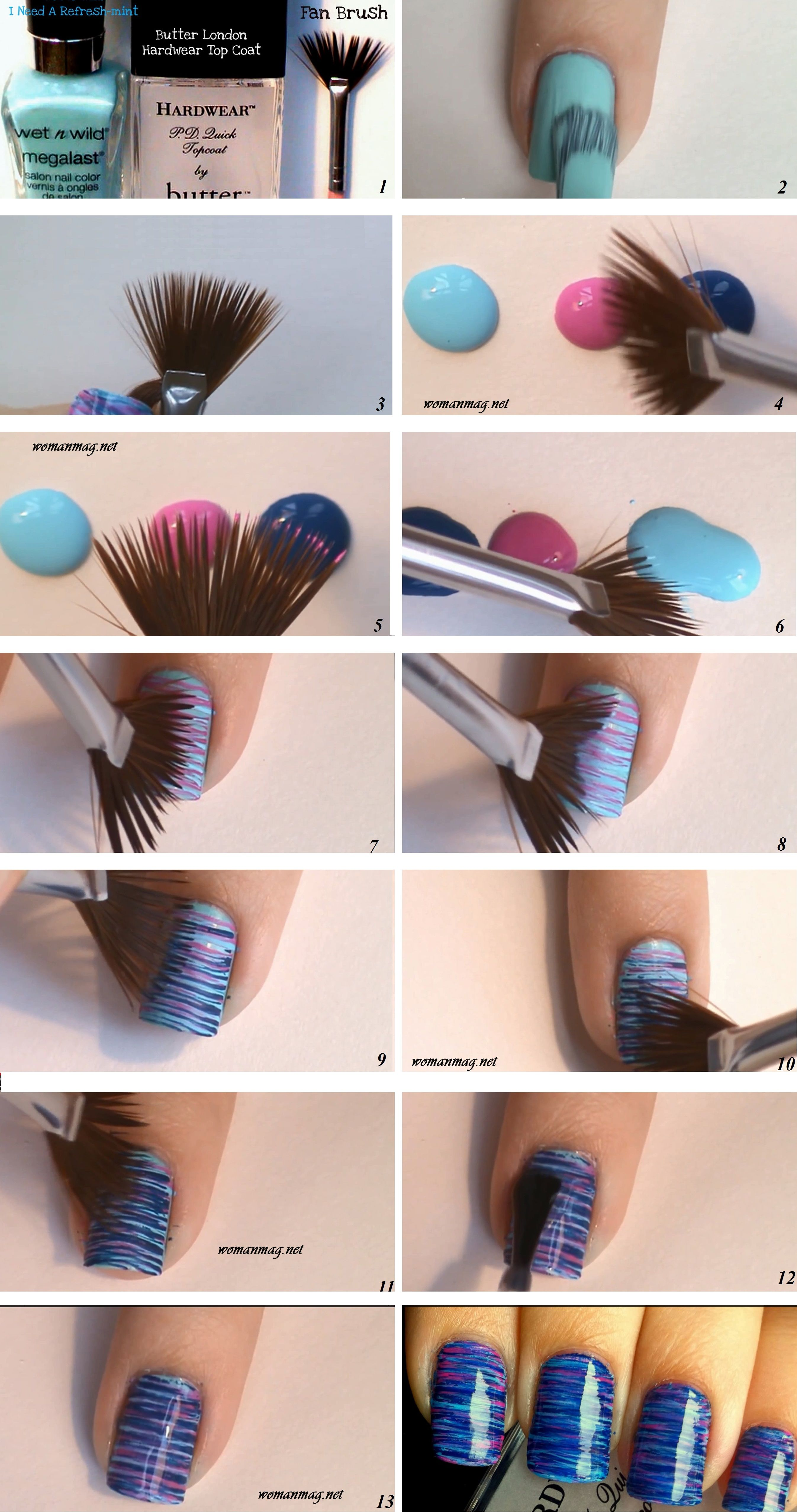 awesome Fan Brush Striped Nail Art - Click on the image to see more ...
