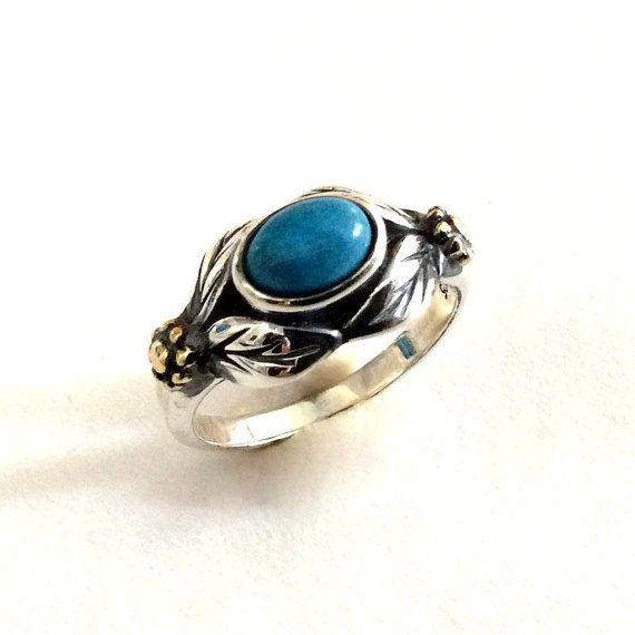 Birthstone ring, two tones ring, leaves ring, botanical ring, gold Silver Ring, turquoise ring, gemstone ring - Wonder R2185