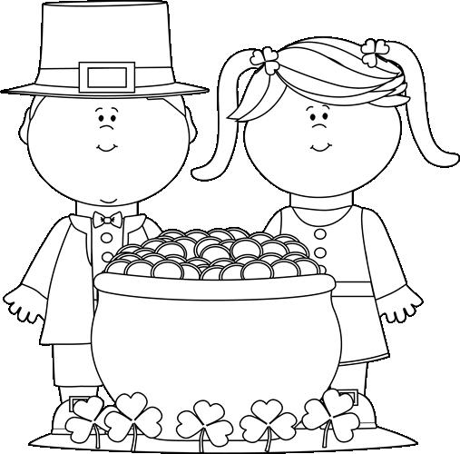 Black And White Saint Patrick S Day Kids Clip Art Black And White Saint Patrick S Day Kids Image Kids Clipart Coloring Books St Patricks Day