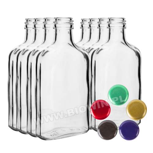Butelka na nalewki piersiówka 100ml+ zakrętka 8szt • Biowin Bioterm Bioogród 2measure Soens
