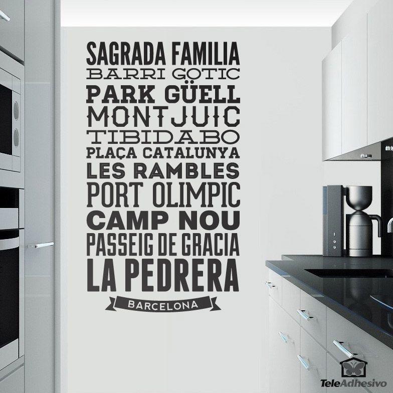 Vinilo decorativo tipogr fico calles de barcelona vinilos de frases pinterest barcelona - Teleadhesivo vinilos decorativos espana ...