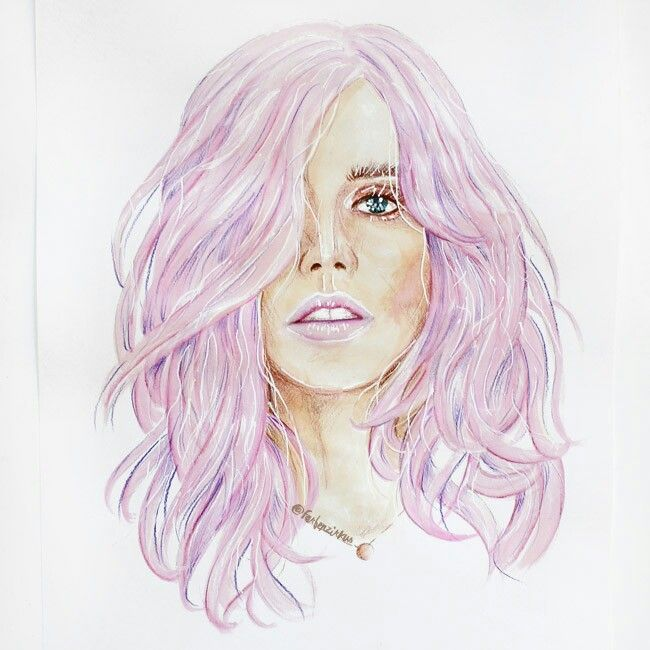 Illustration of a cool model girl with soft pink pastel hair and lips