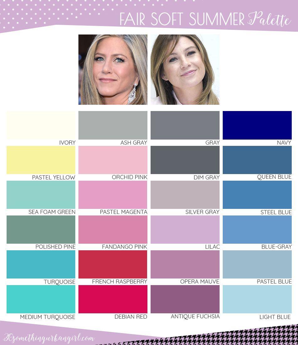 Best colors for Fair Soft Summer seasonal color women; Fair Soft Summer color palette