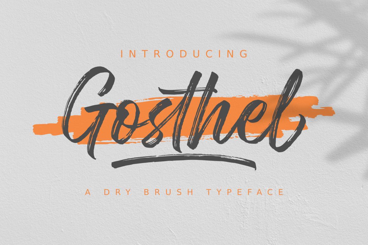 Gosthel Dry Brush Font 345111 Script Font Bundles Brush Font Brush Script Fonts Hand Fonts