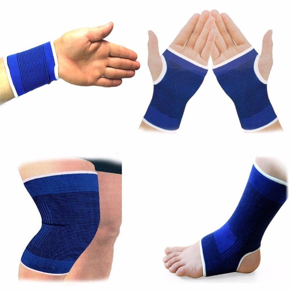 1pair Elasticated Knee Blue Knee Pads Knee Support Brace Leg