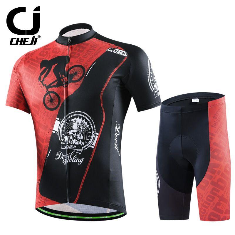 Hot Cheji Men Bike Jerseys Shorts Sets Black Red Gear Pro Mtb Team