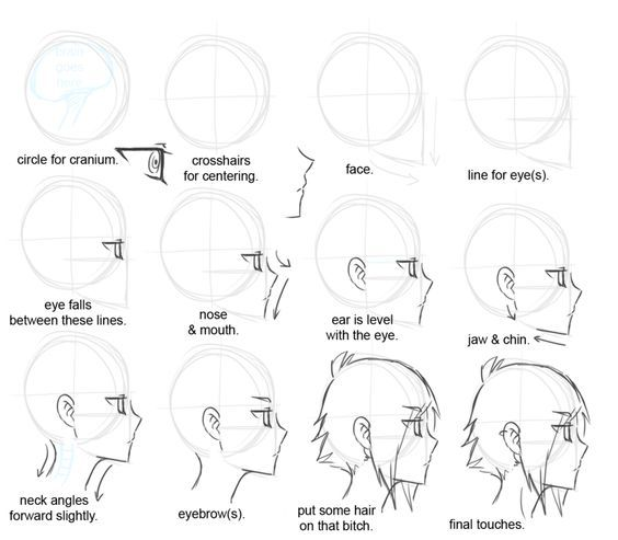How to draw a head in profile anime styled by davick deviantart