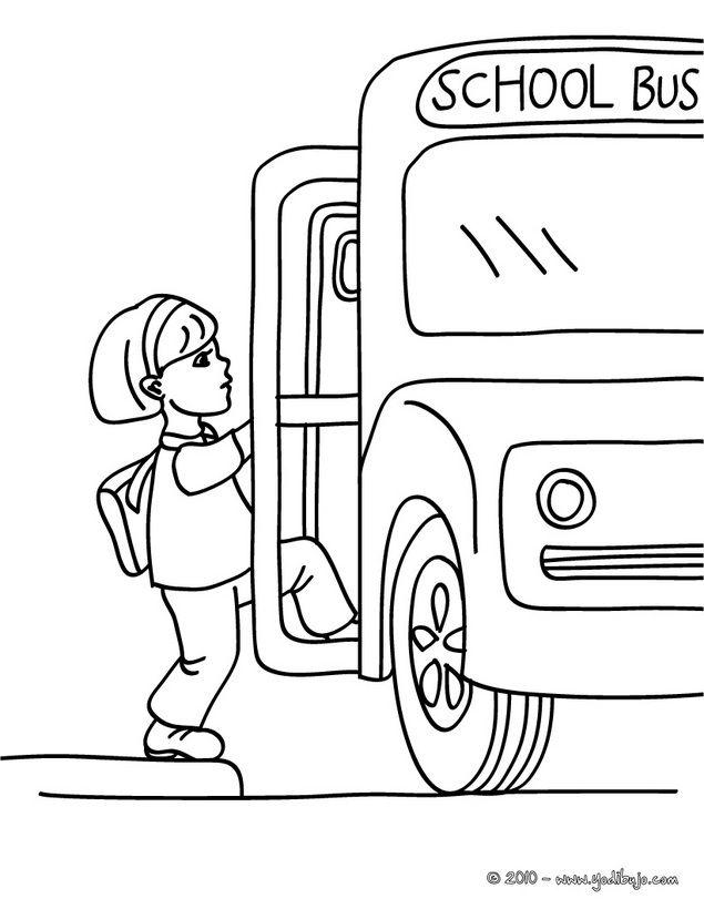 Dibujo para colorear : una alumna subiendo en el autobus escolar ...