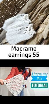 Photo of Makramee-Ohrringe 55 Boho-Stil, Makramee-Fransenohrringe. Farbe: weiße Baumwolle …