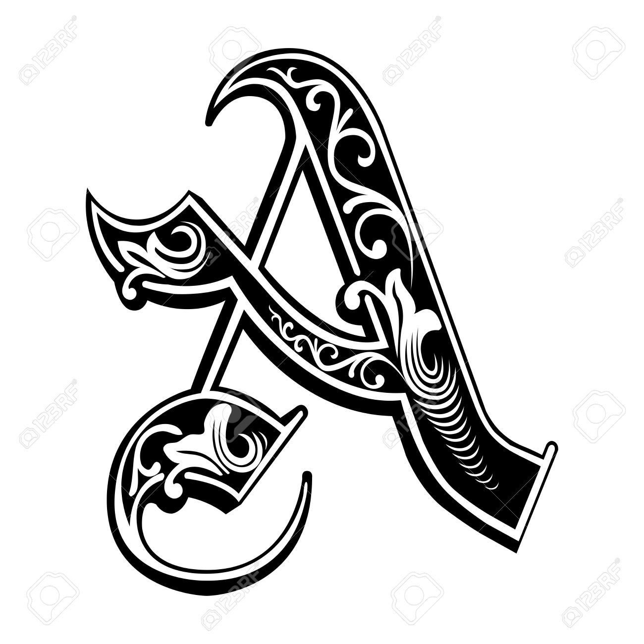 Beautiful Decoration English Alphabets, Gothic Style, Letter ...