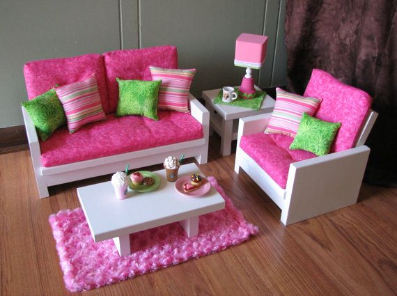 Awesome 18 Doll Furniture American Girl Sized Living By MadiGraceDesigns, $175.00.  Loveseat   15 1