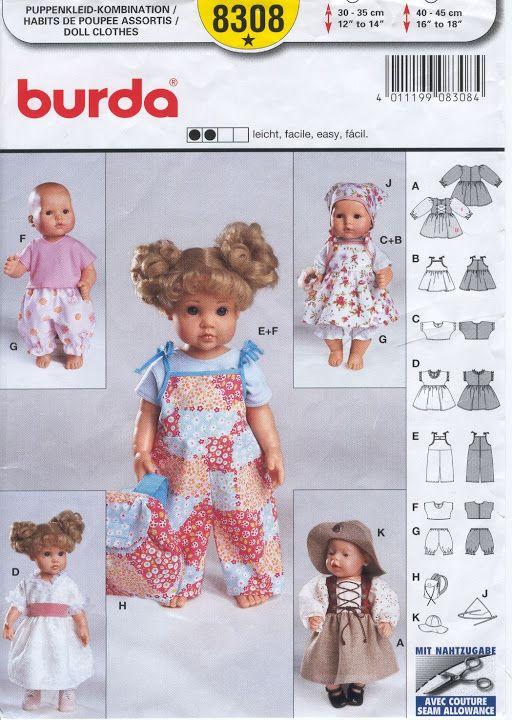 Free Copy of Pattern - Burda 8308   пупс шитье   Pinterest   Barbie ...