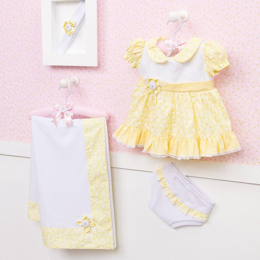 ccdeb6839 Saída Maternidade Vestido Sofie Floral Amarela | Grão de Gente Conjunto  para Saída de Maternidade Bebê