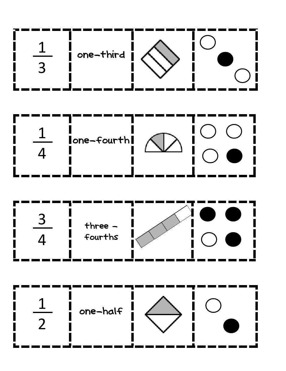 Fraction Match Up Pdf Fractions Math Fractions Math Activities Elementary [ 1235 x 954 Pixel ]