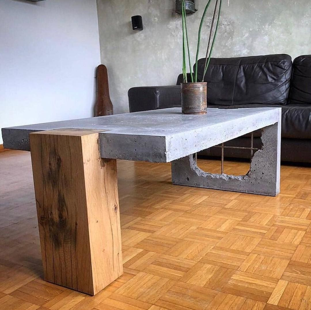 Concrete And Wood Coffee Table! ⠀ .⠀⠀ Show Your Work