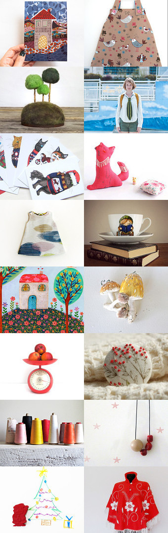 Little house rounded trees by Yael Keila Sagi on Etsy--Pinned with TreasuryPin.com