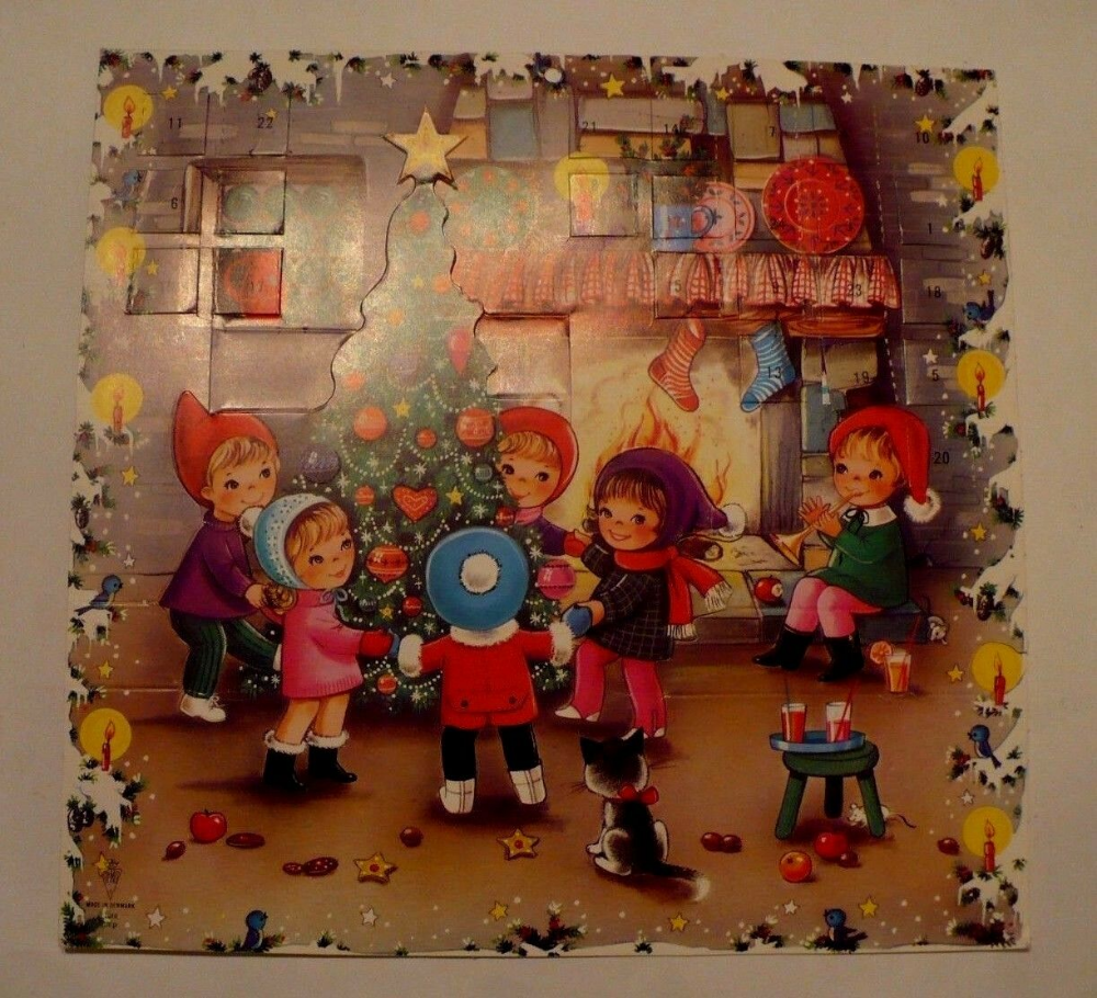 VINTAGE CHRISTMAS ADVENT 3-D POP UP CHILDREN AROUND TREE GEMO DENMARK | eBay