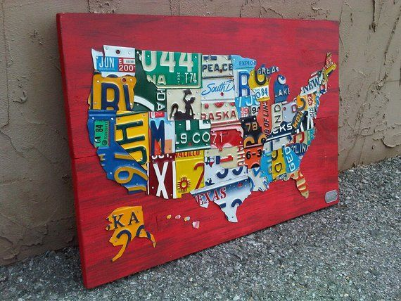 License Plate Map of The United States Metal Artwork - 27
