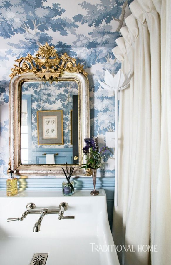 Best Stylish New Orleans Showhouse Powder Room Wallpaper 400 x 300