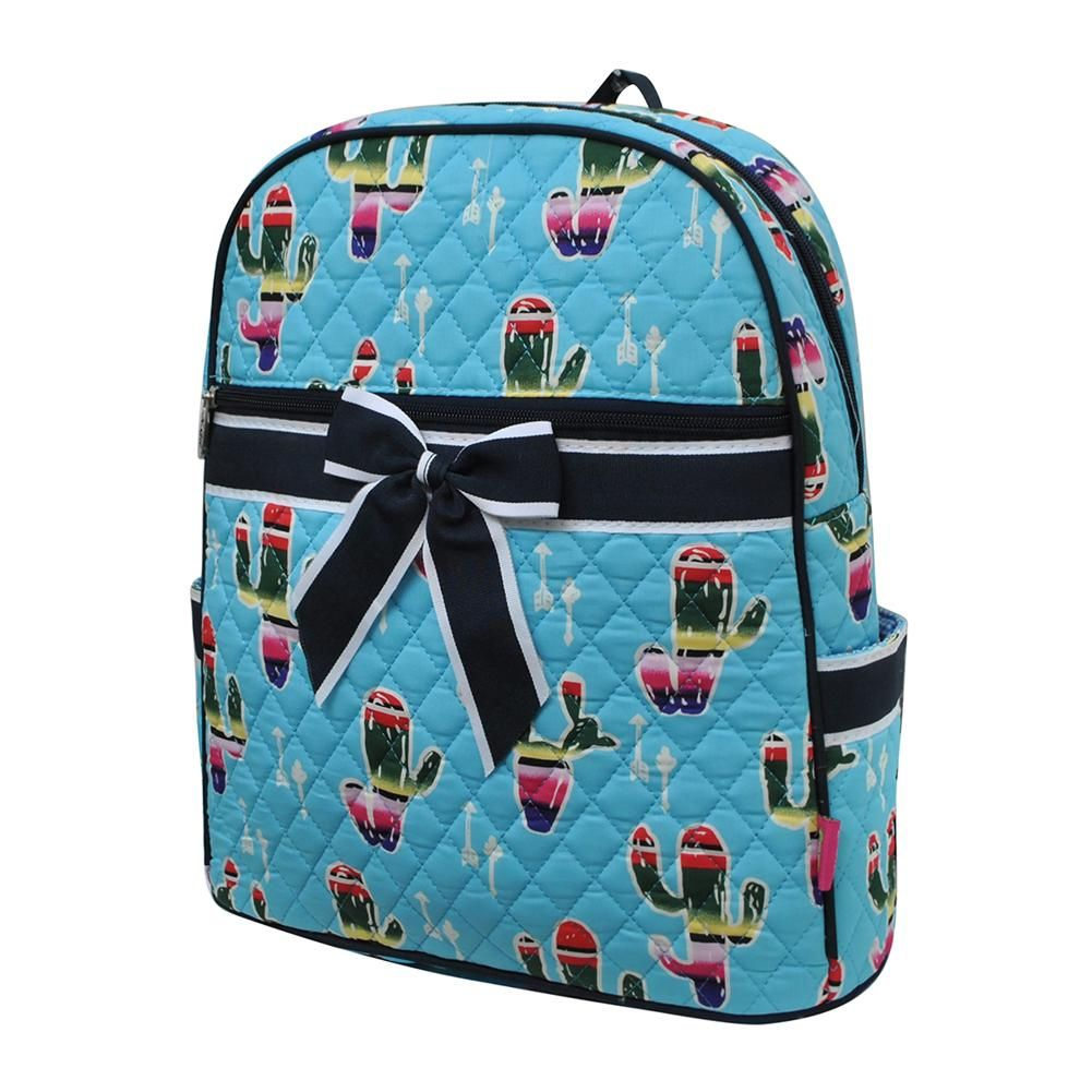 American Serape Cactus Print Quilted BackpackAq Cactus