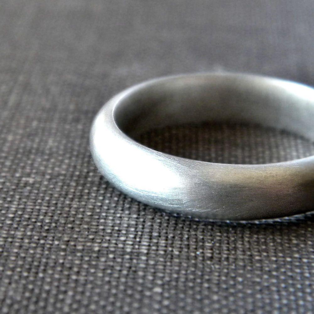 Mens Wedding Band Matte 4mm Half Round Unisex Recycled Argentium
