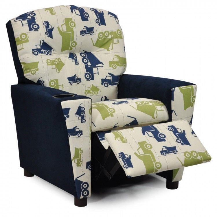 Toddler Recliner With Cup Holder Toy Truck Themed Kids Chair
