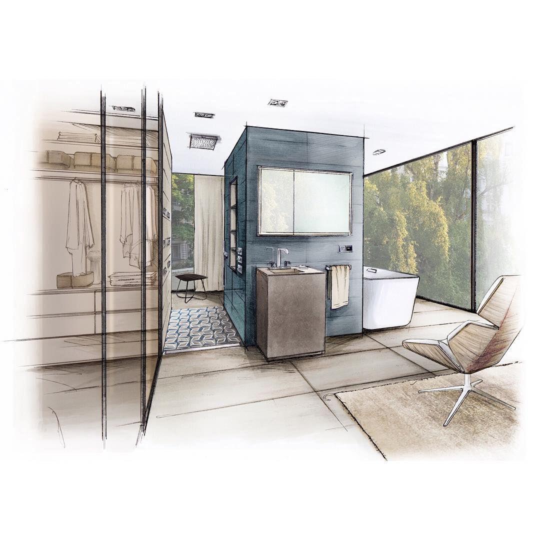"""""""#arqsketch #arquisemteta #arquitetapage #bathroom #bathdesign #bathroomdesign #ceramic #ceramictiles #gekkoe #interiordesign #interiordrawings…"""""""