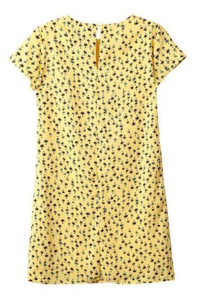 Yellow Tree Print Short Sleeve Shift Dress - Beautifulhalo.com