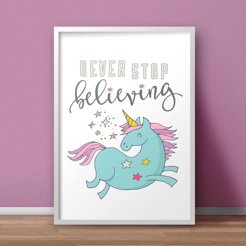 Pinterest Playroom Wall Decor : Unicorn nursery printable poster never stop believing