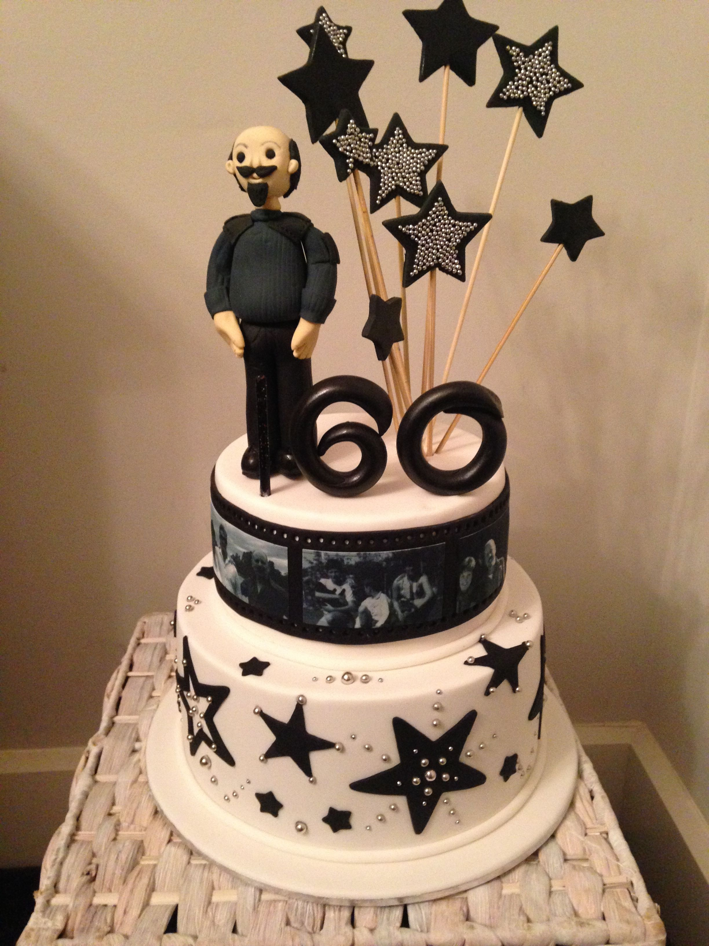 Male 60th Birthday Black And White Cake 60th Birthday Cakes Birthday Cakes For Men White Cake