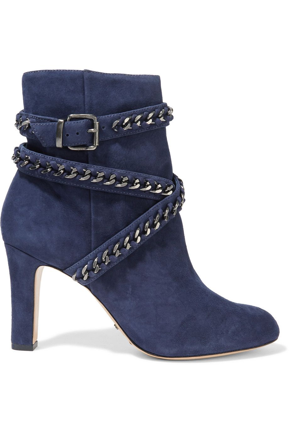 Shop on-sale Schutz Chain-embellished suede ankle boots. Browse ...