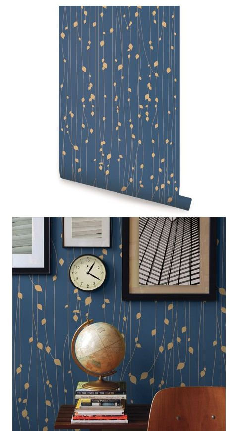 Leaves Navy Blue Peel And Stick Wallpaper Wallpaper Bathroom Walls Gold Wallpaper Bedroom Blue Wallpaper Living Room