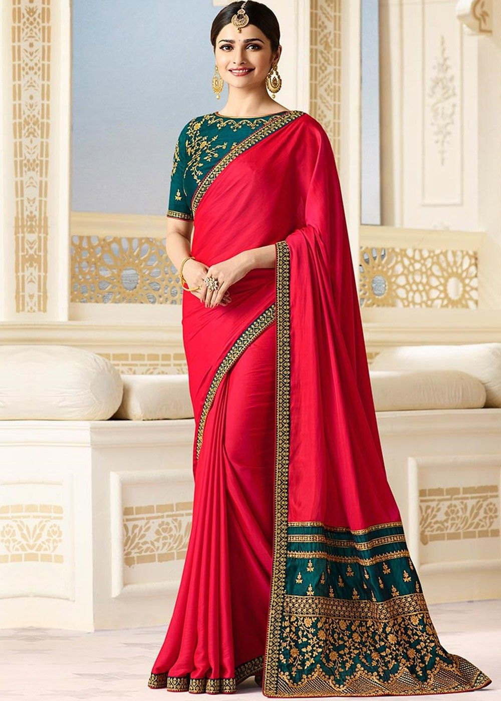 3c27738060a97e Prachi Desai Red Georgette Satin Saree with Embroidered Blouse in ...