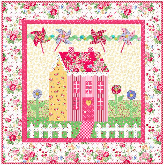 Little Garden House in Spring by Shabby Fabrics in Pam Kitty Love fabric by PamKittyMorning via Flickr