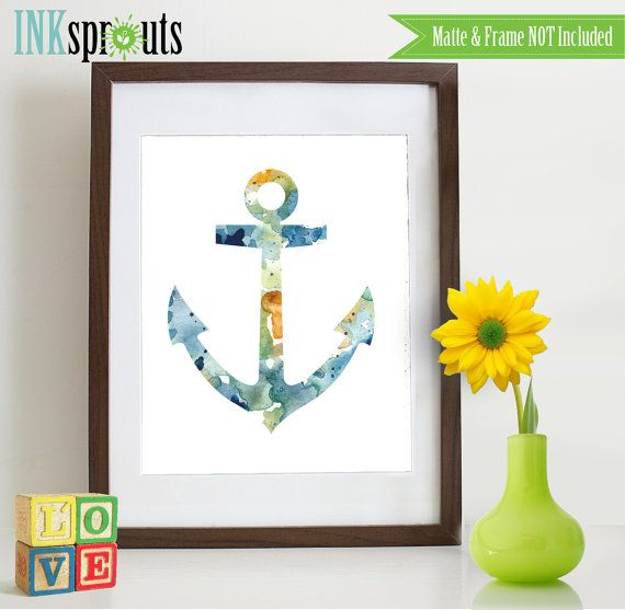 Watercolor Anchor Print Watercolor silhouettes Boat by InkSprouts