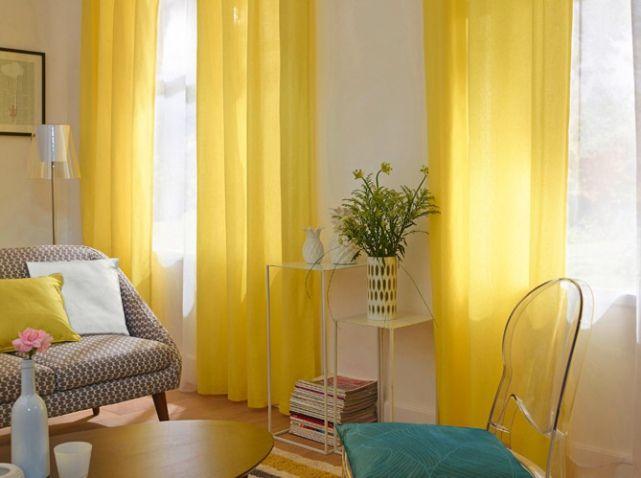 30 id es pour habiller vos fen tres elle d coration rideaux jaunes castorama et jaune. Black Bedroom Furniture Sets. Home Design Ideas