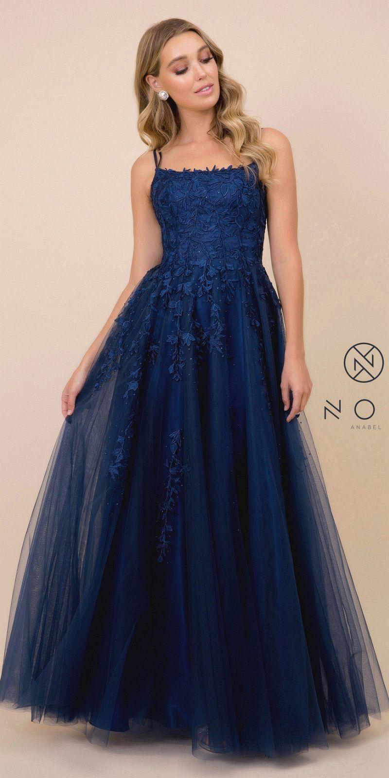 Lace Up Back Appliqued Long Prom Dress Navy Blue Navy Prom Dresses Pretty Prom Dresses Cute Prom Dresses [ 1600 x 800 Pixel ]