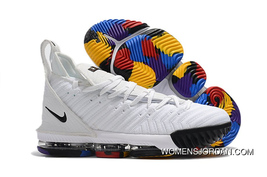 2018 Nike Lebron 16 White Multi-Color Shoes For Sale Mens Basketball Shoes  Free Shipping 88e2407d13b