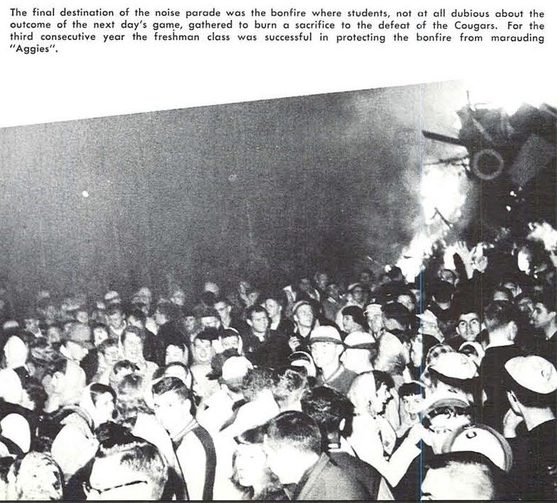 The 1952 homecoming pep rally bonfire, which had been guarded by freshmen to prevent Oregon State fans from sabotaging it prematurely, despite Oregon playing Washington State. From the 1953 Oregana (University of Oregon yearbook). www.CampusAttic.com
