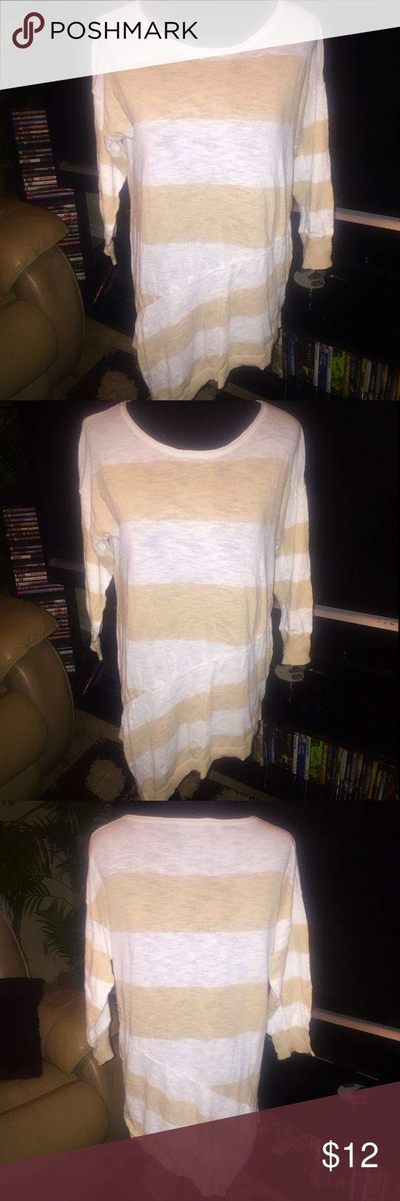 Verve Sweater Good condition | Used | Verve Sweater | White and Tan Wide Lines | Ling Sleeve | Scoop neckline | Asymmetrical Bottom Design | XL | 96% Cotton & 4% Nylon | Add'l 📸 upon request | 🚫 No Trade | 🚦Bundles and Offers Welcomed 🚦 Verve Sweaters