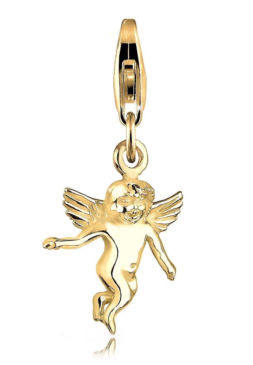 Wunderschöner vergoldeter Baby-Engel als Charm-Anhänger.  Produktdetails: Verschluss: Karabinerhaken, Höhe: 16mm, Breite: 15mm, Gewicht: 1,6g, Optik: glänzend,  ...