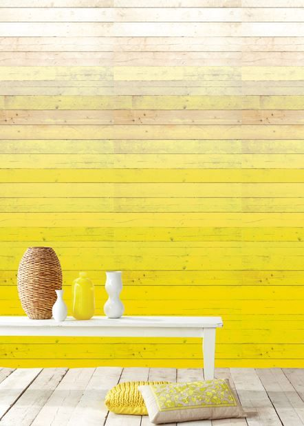 L\'idée déco du jour : peindre un mur dans un dégradé de jaune. Plus ...