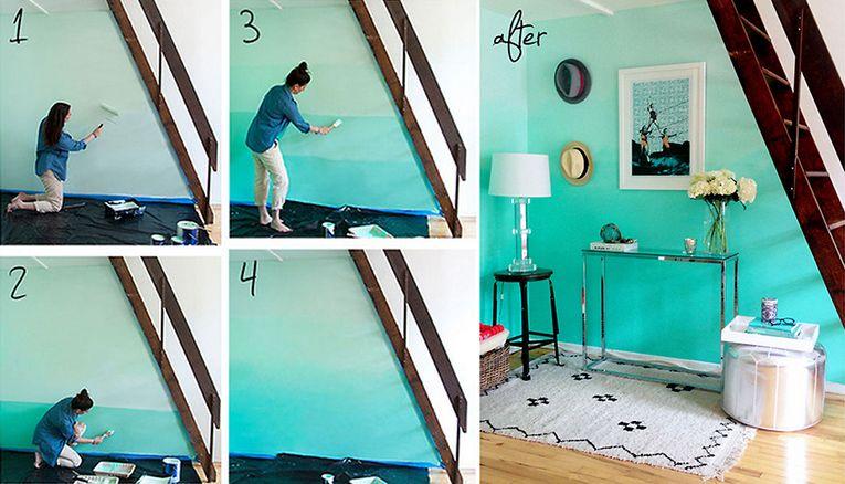 peindre le mur en bleu turquoise avec une jolie déco a coter. | diy ...