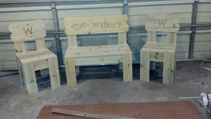 Patio set i made again from fence pickets.  Custom burnt in name on the back rest.