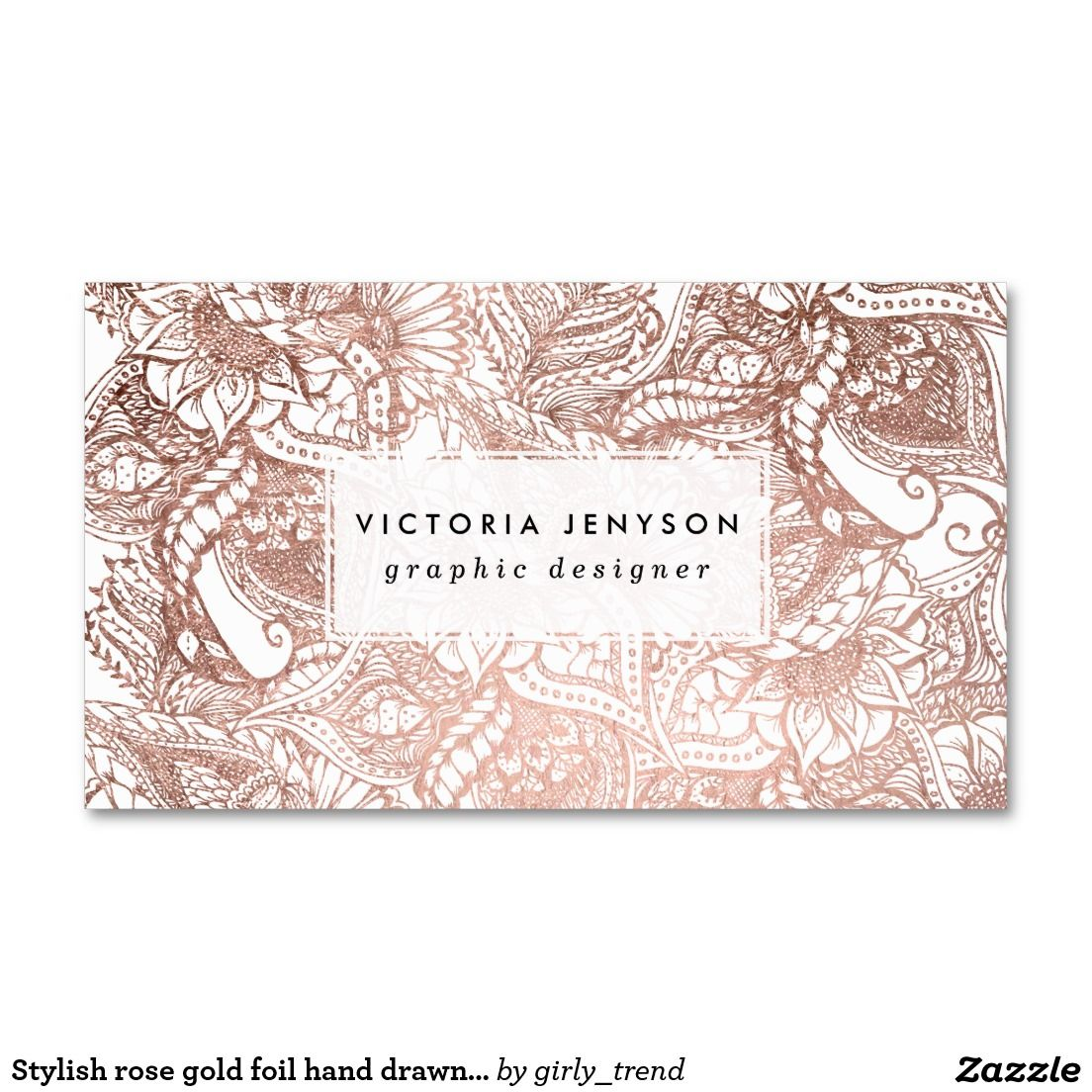 Stylish rose gold foil hand drawn floral pattern business card stylish rose gold foil hand drawn floral pattern business card magicingreecefo Images