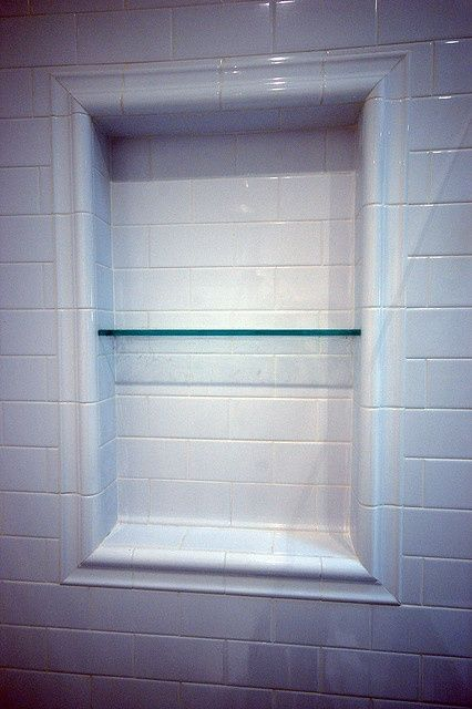 Shower Shelves Subway Tile Shower Niche With Glass Shelf What A